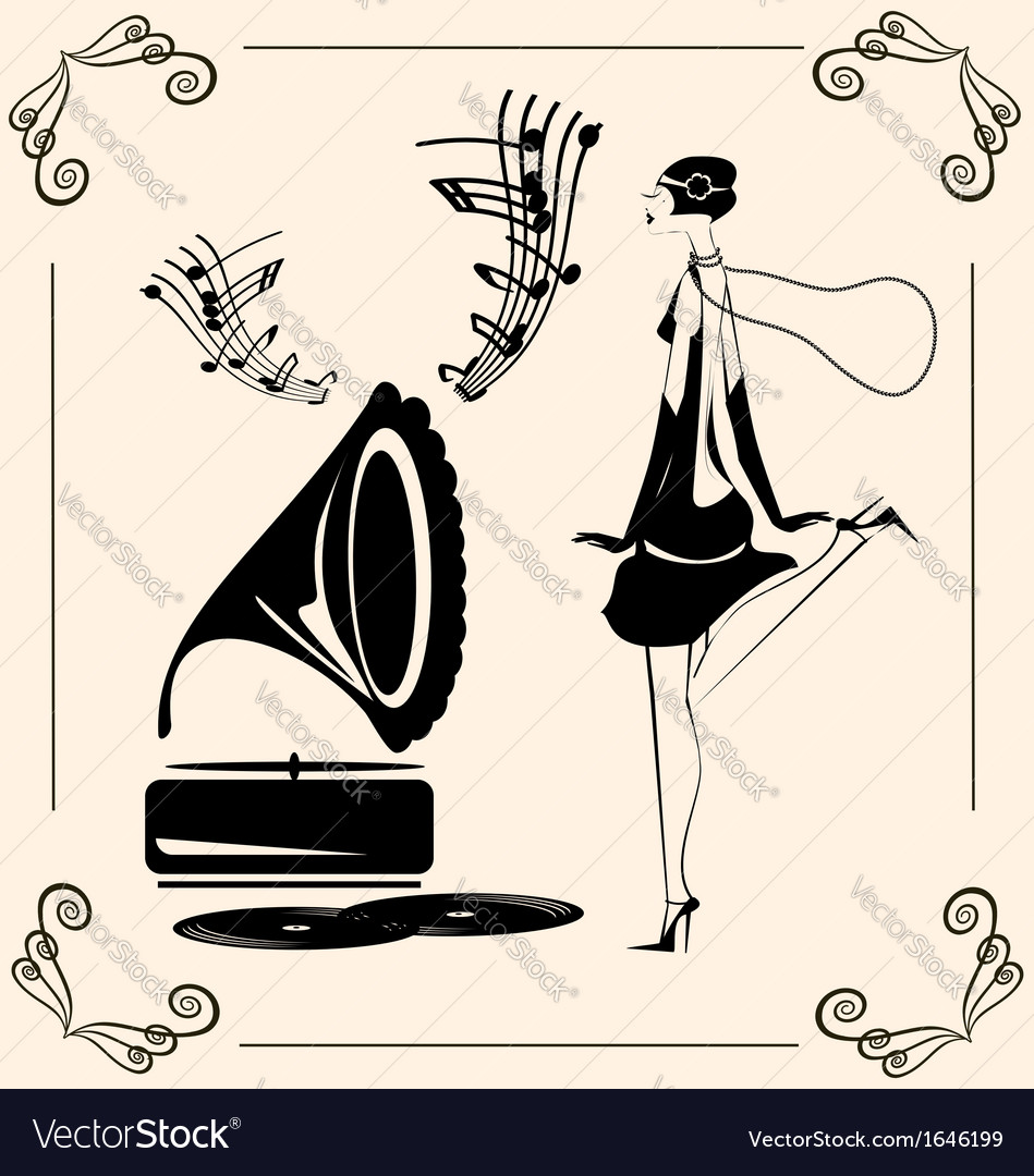 Vintage dancing lady vector