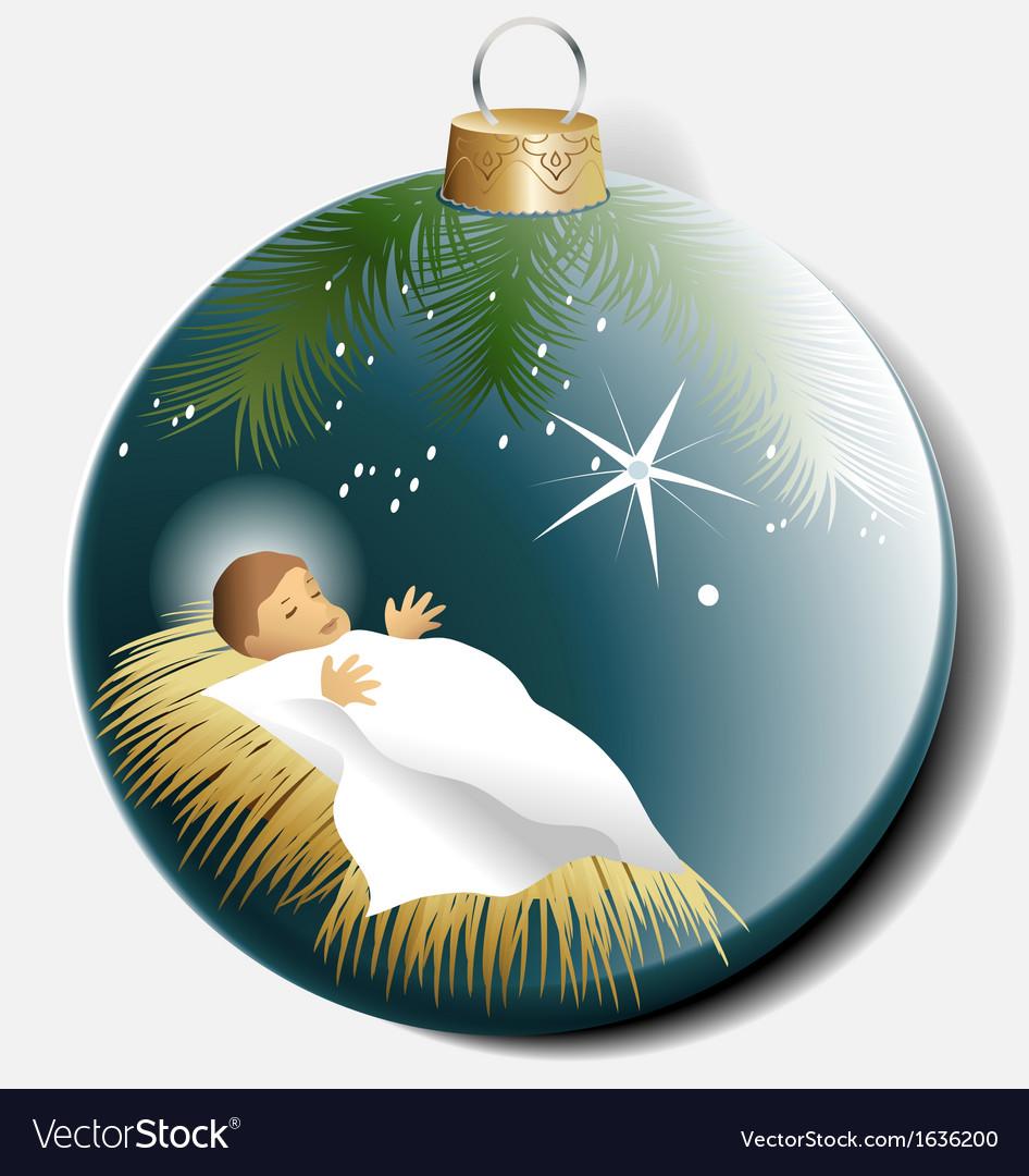 Christmas ball with baby jesus vector