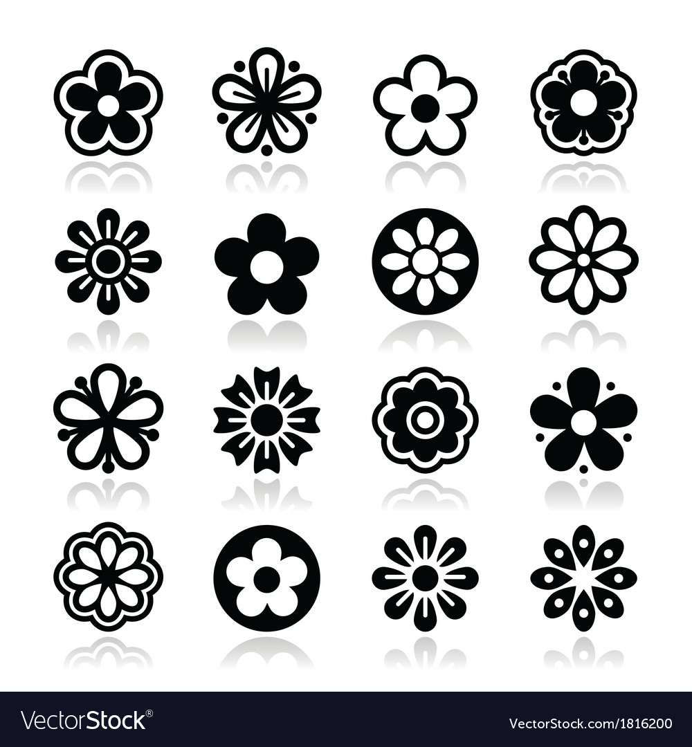 Flower head icons set vector