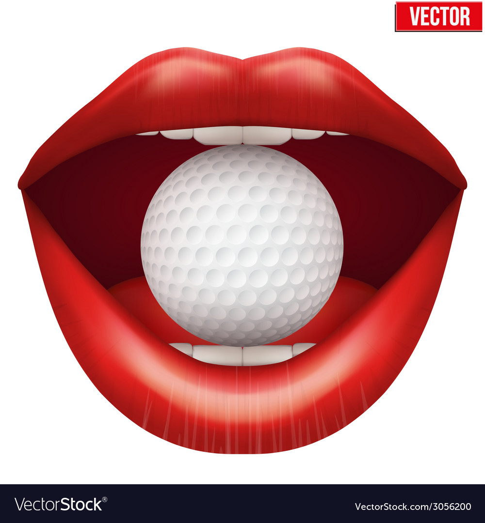 Womans open mouth with golf ball in lips vector