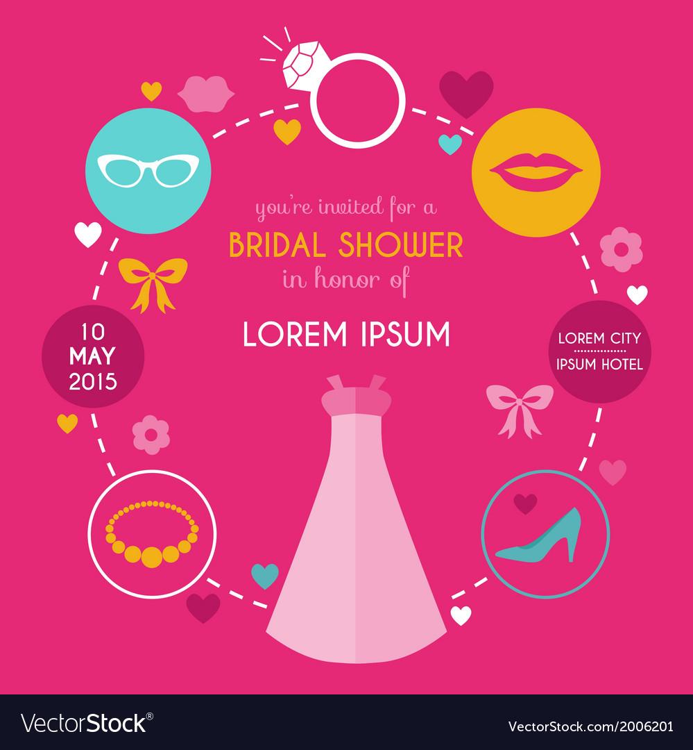 Wedding bridal shower card vector