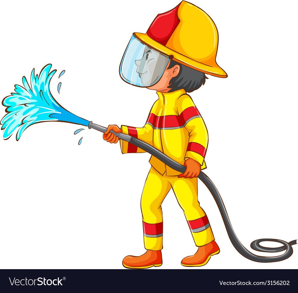 A drawing of a fireman vector