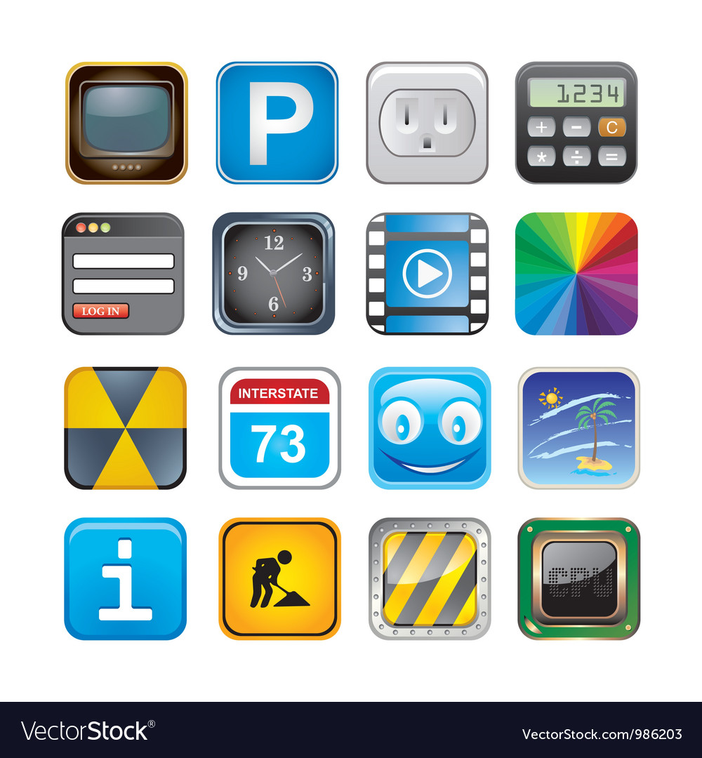 Apps icon set three vector