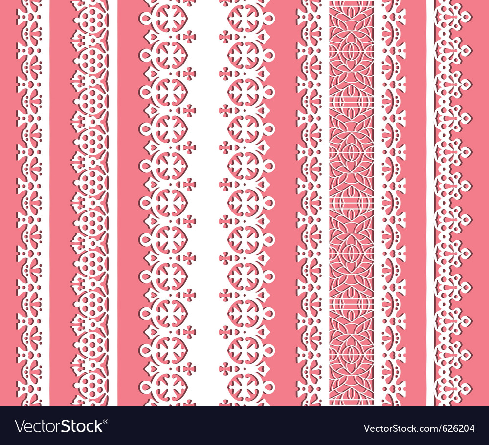 Cute straight seamless lace set vector