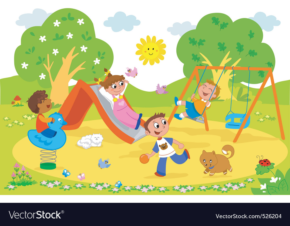 Kids at the playground vector
