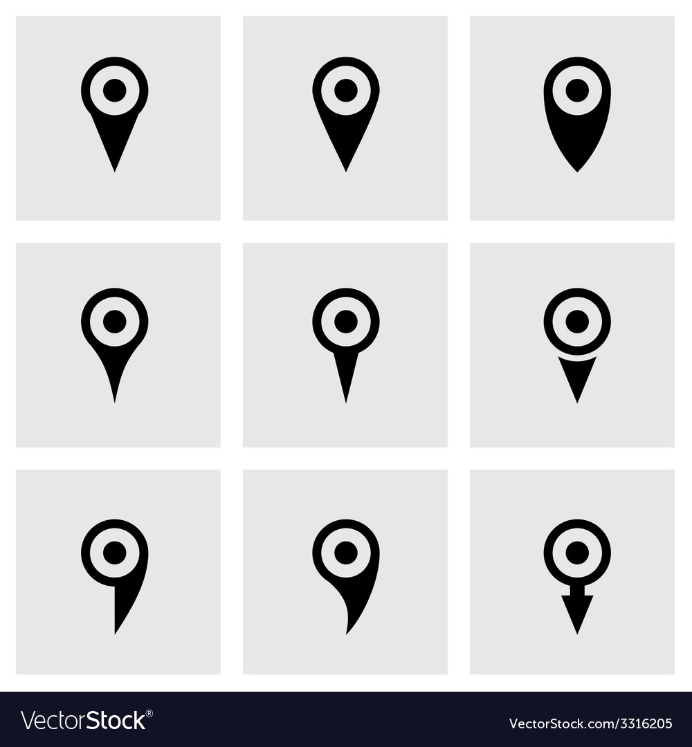 Map pointer icon set vector