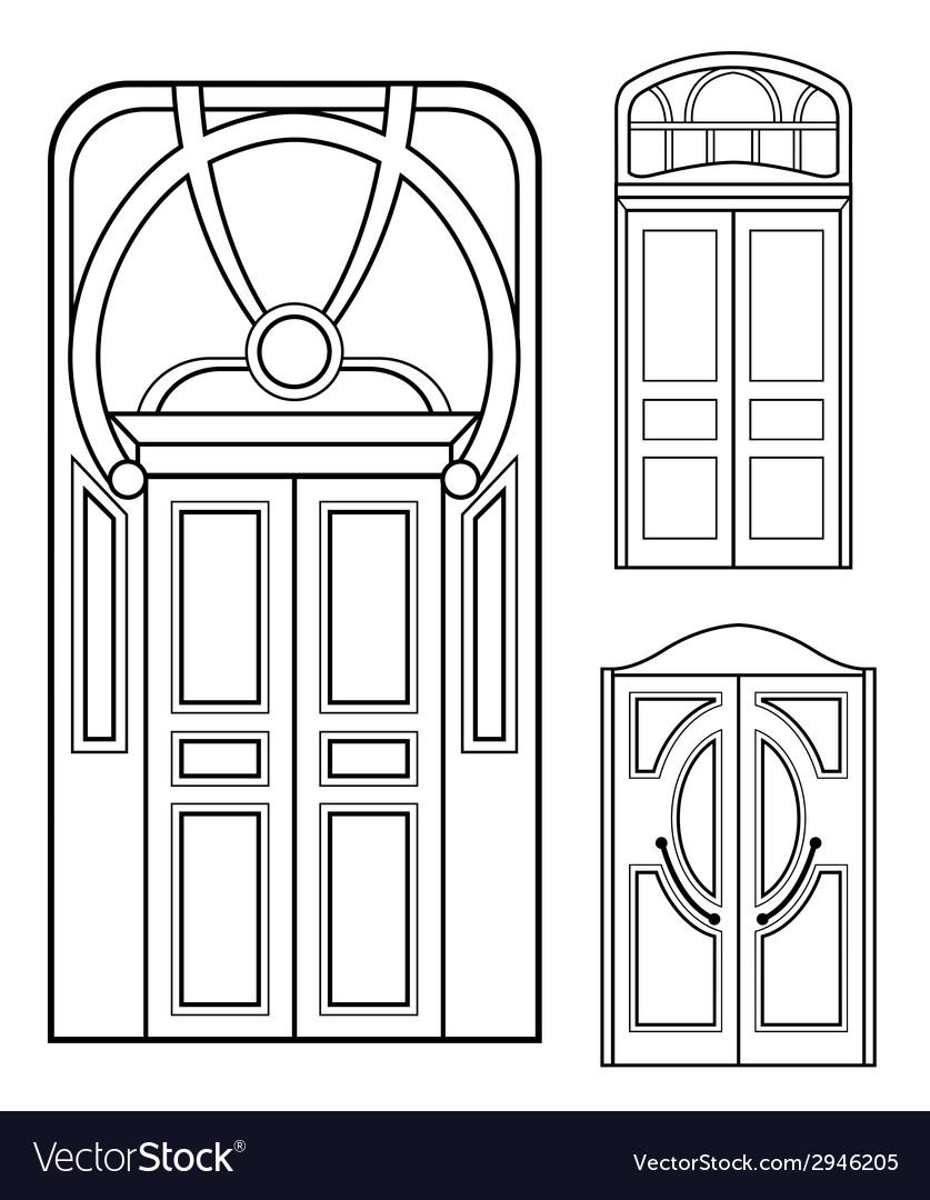 Retro doors set vector