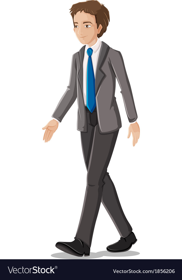A businessman in his formal attire with a blue vector