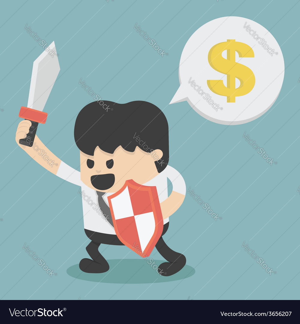 Businessman in attacking holding a sword and shiel vector