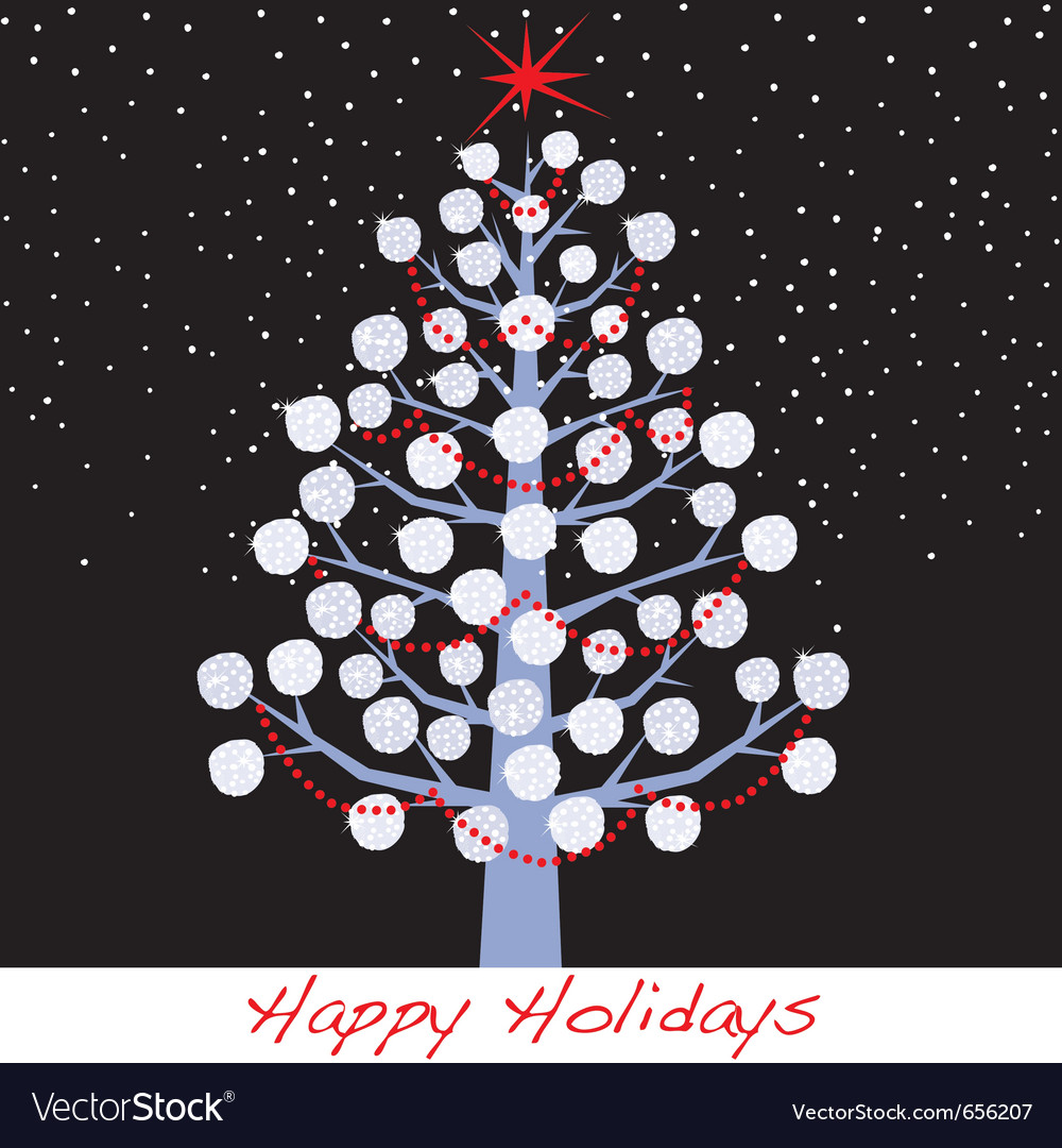 Snowball christmas holiday tree vector