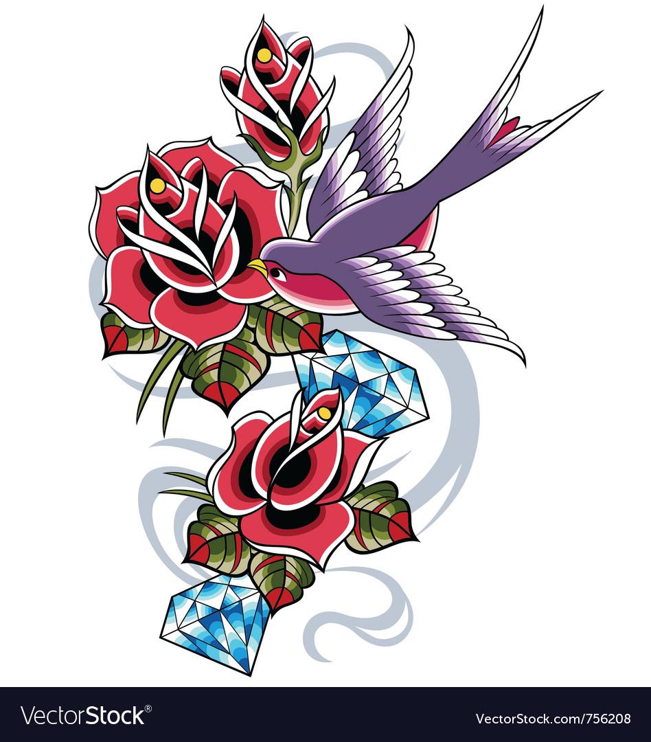 Bird with rose flower vector