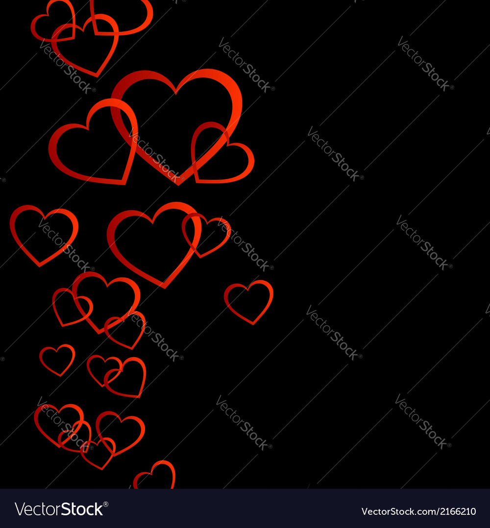 Floating red hearts background vector