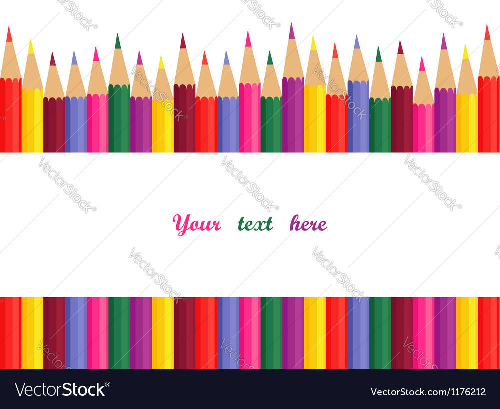 Colored pencils with space for text vector