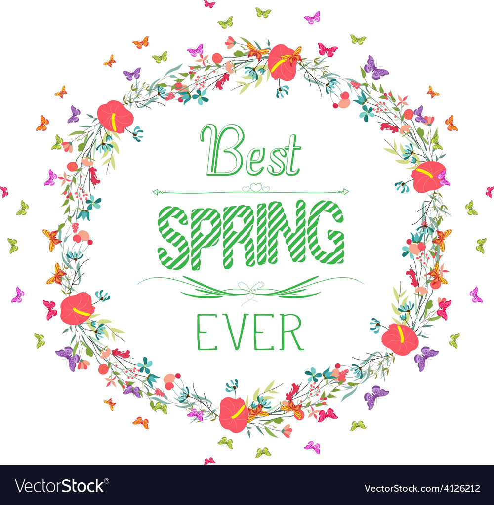 Spring with flower and butterflies the wreath 2 vector