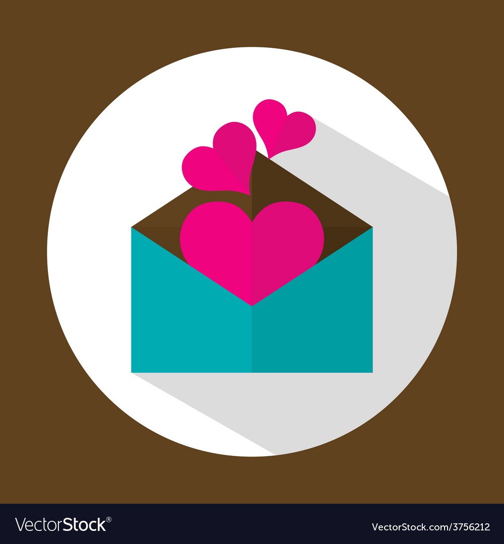Valentine letter flat icon with long shadow vector