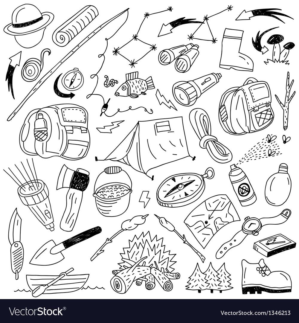 Camping - doodles vector