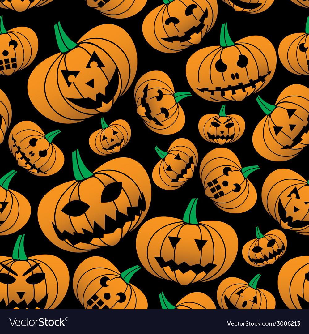 Orange halloween carved pumpkin seamless pattern vector