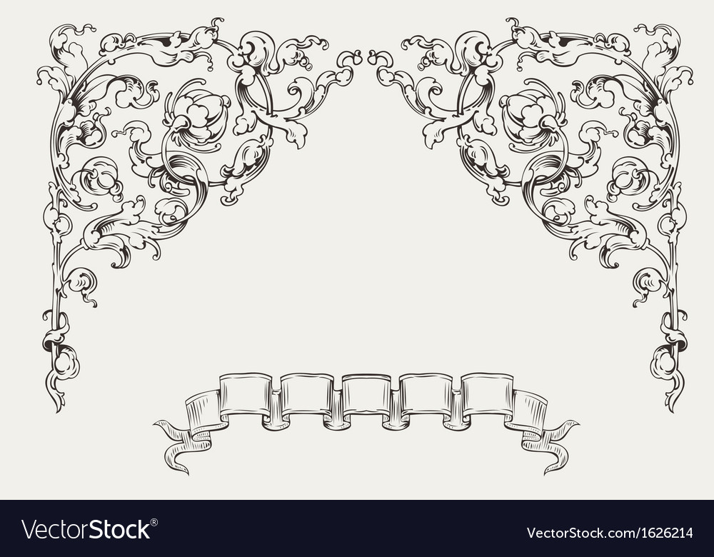 Ornate angles and banner vector