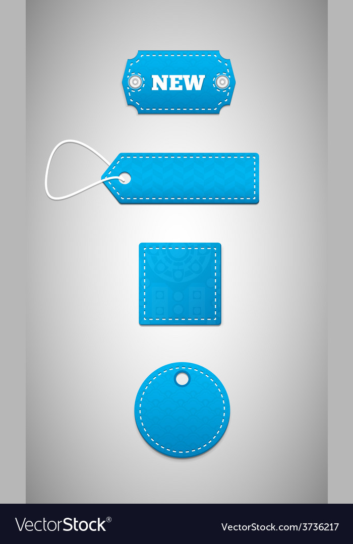 Blue labels price tags vector