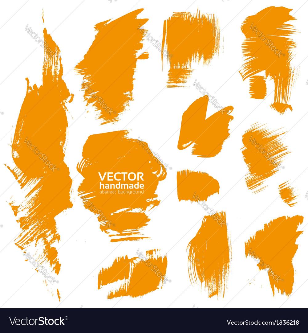 Brush orange paint texture vector