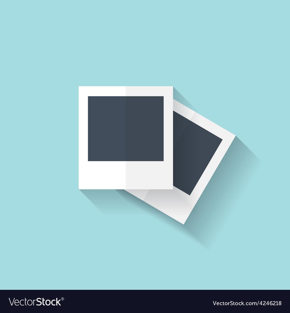 Flat photo frame web icon vector