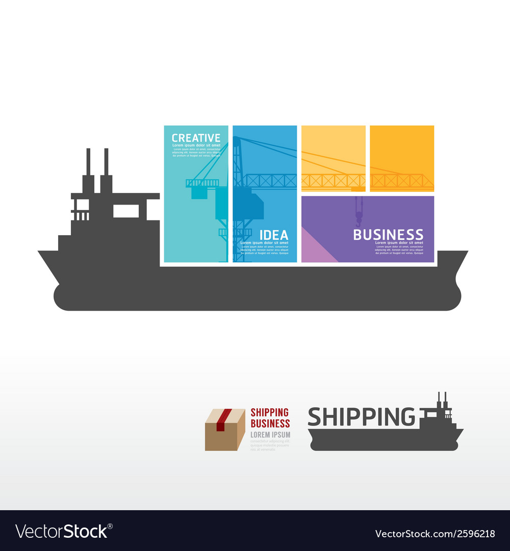 Infographic template with shipping boat vector