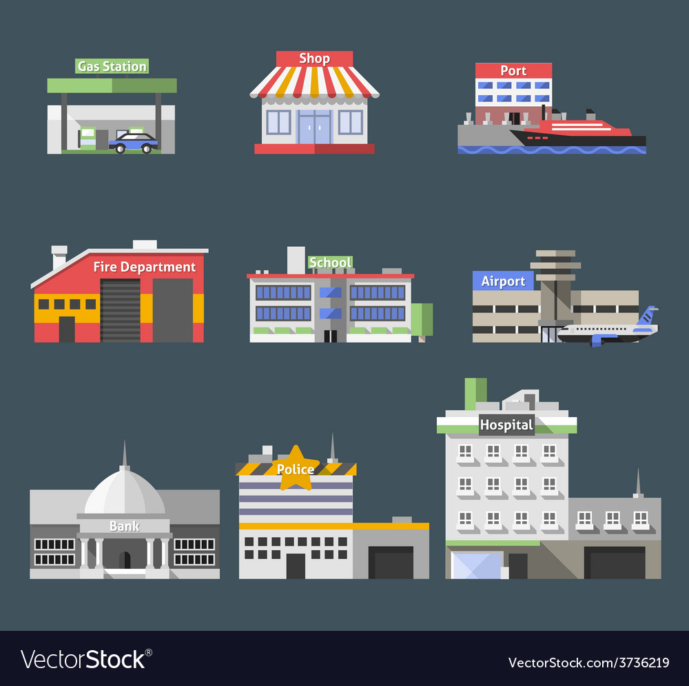 Government flat buildings set vector