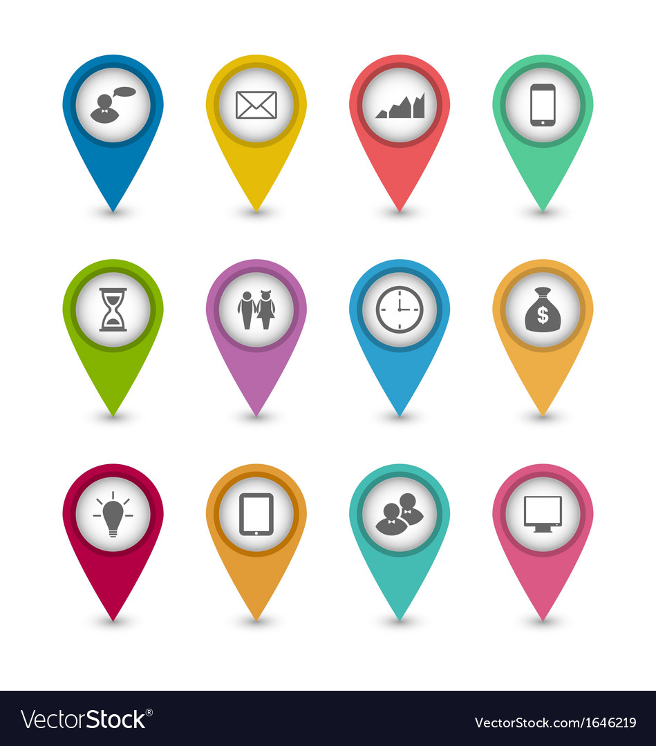 Set business infographics icons for design website vector