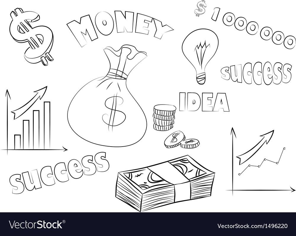 Business sketchy set vector