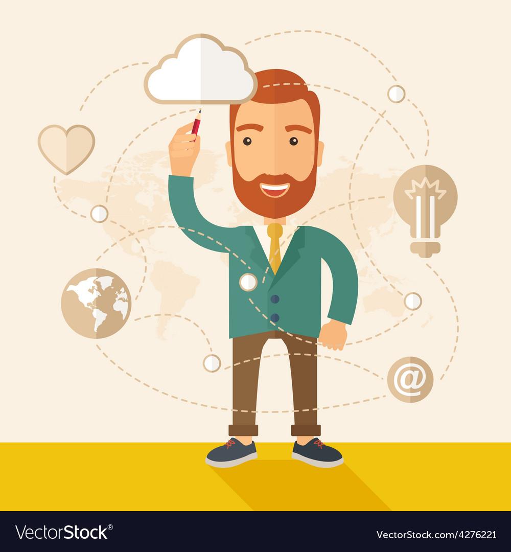 Businessman his business plan vector