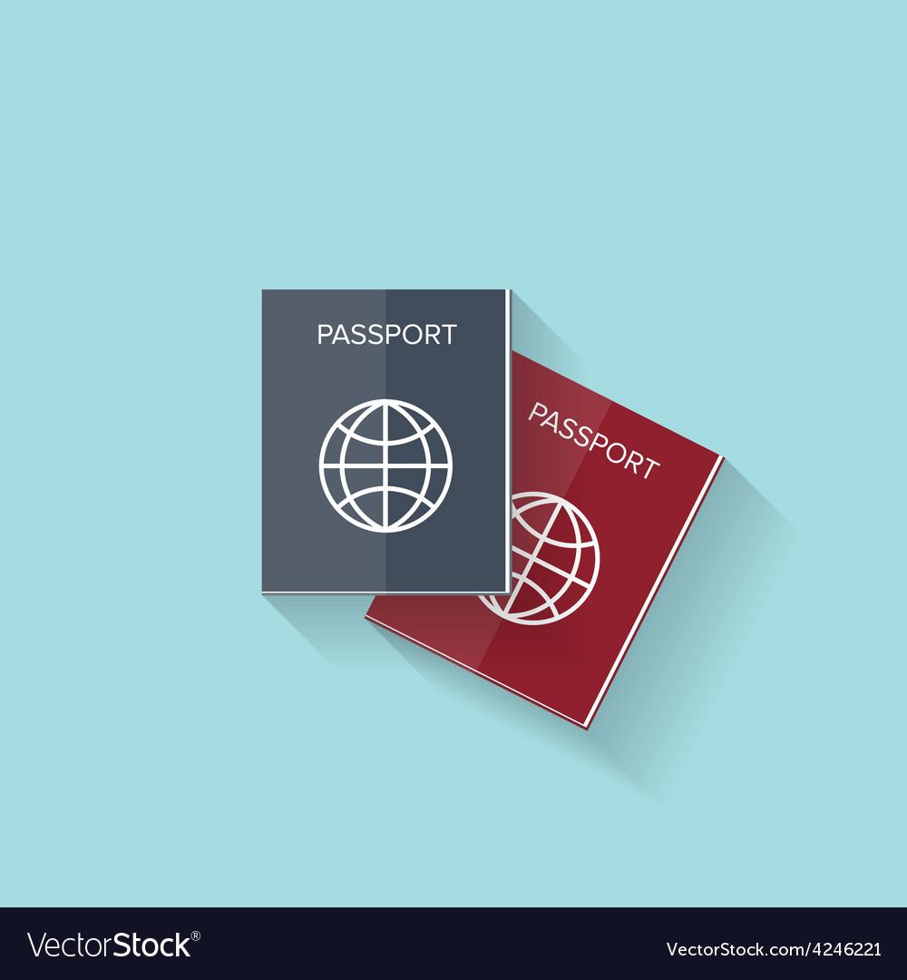 Flat passport web icon vector