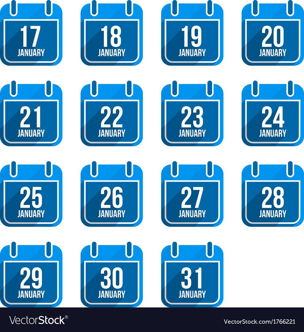 January flat calendar icons with long shadow vector