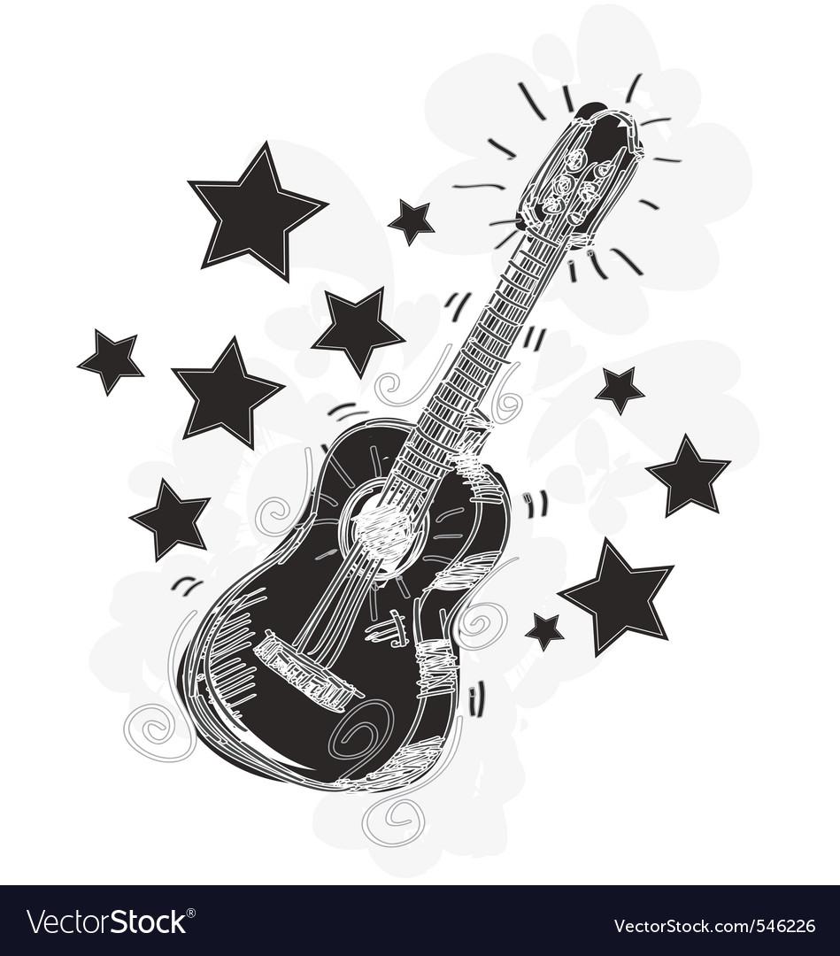 Abstract guitar sketchy vector