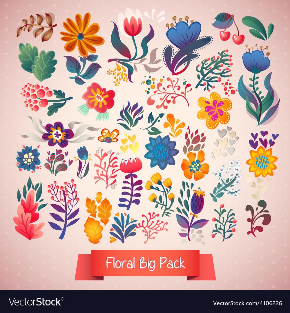 Flowers decorative set of doodle plants vector