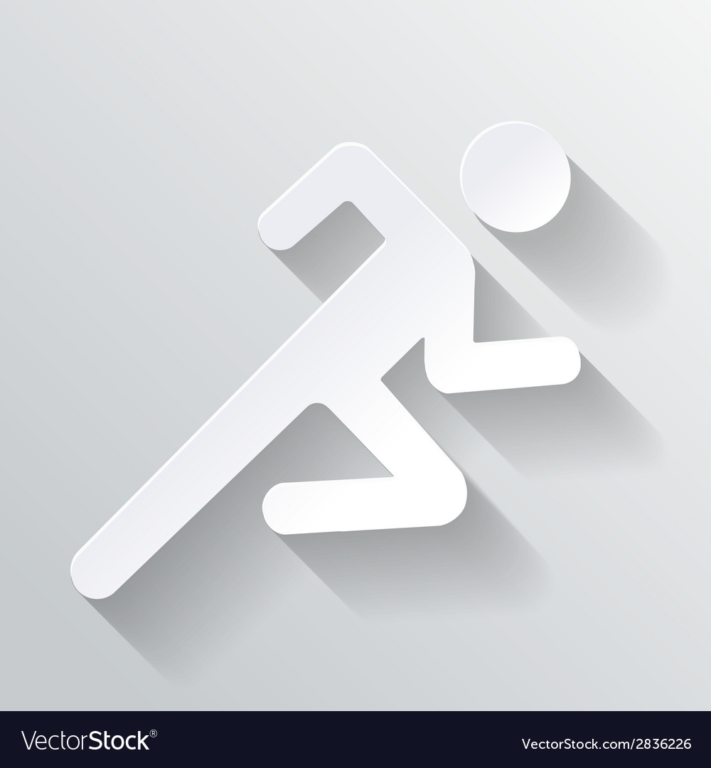 Paper man running sign on white background vector