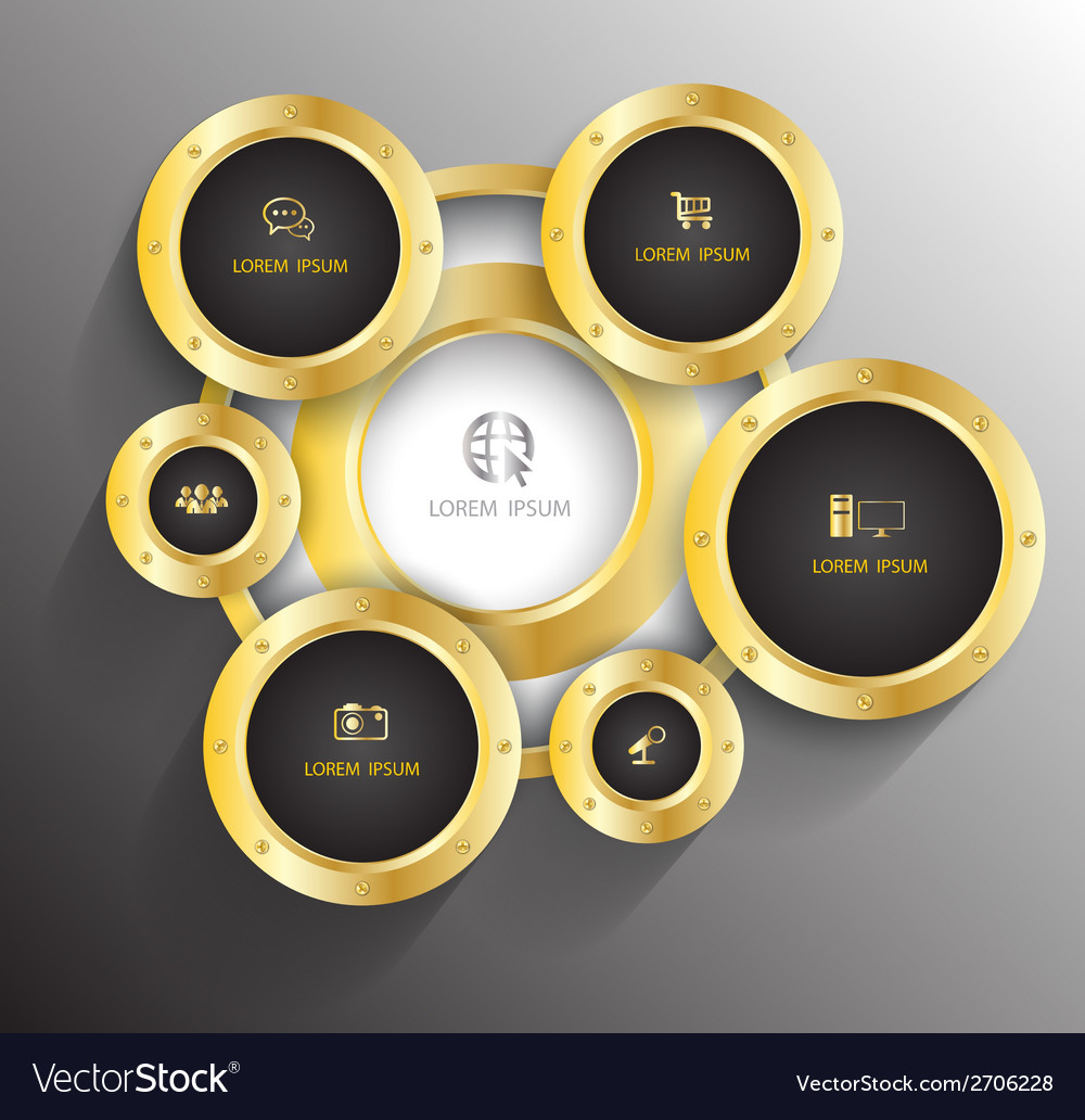 Circle gold with icons vector