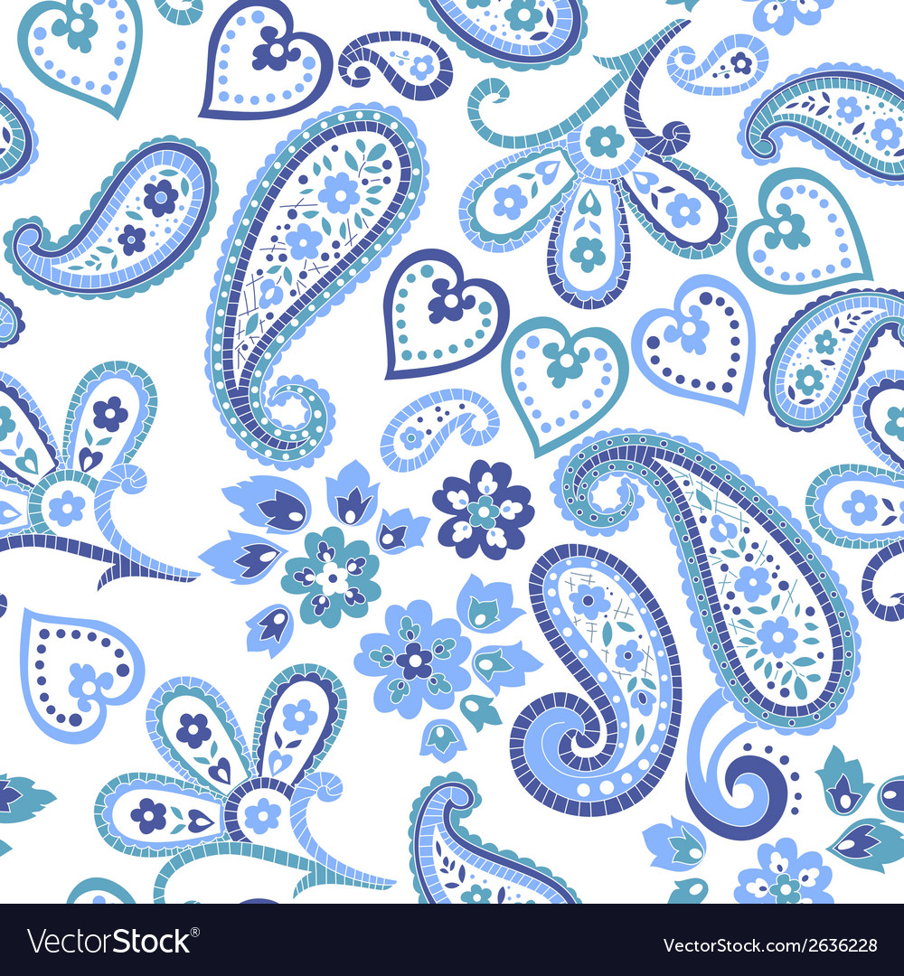 Hand drawn decorative seamless pattern with paisle vector