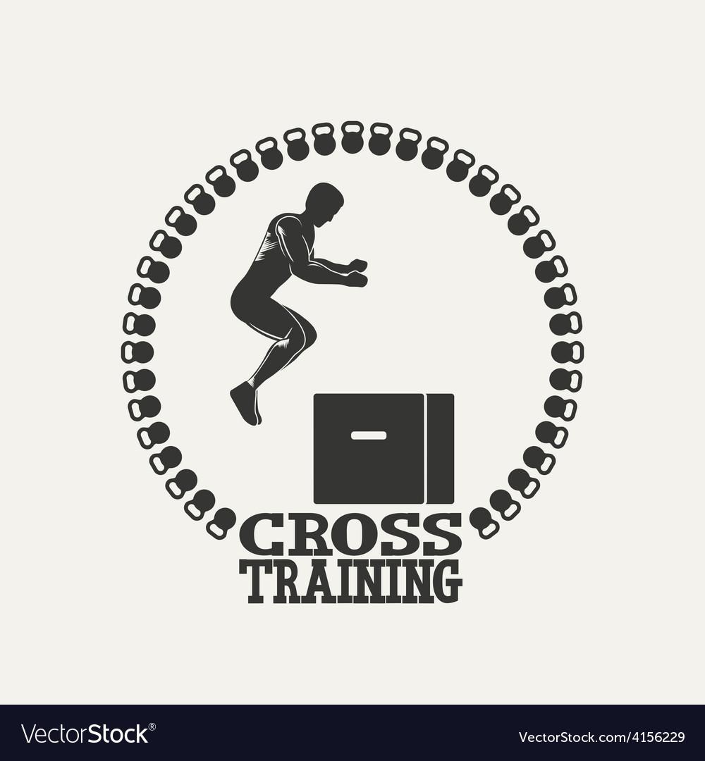 Cross training man silhouet 3 logo vector