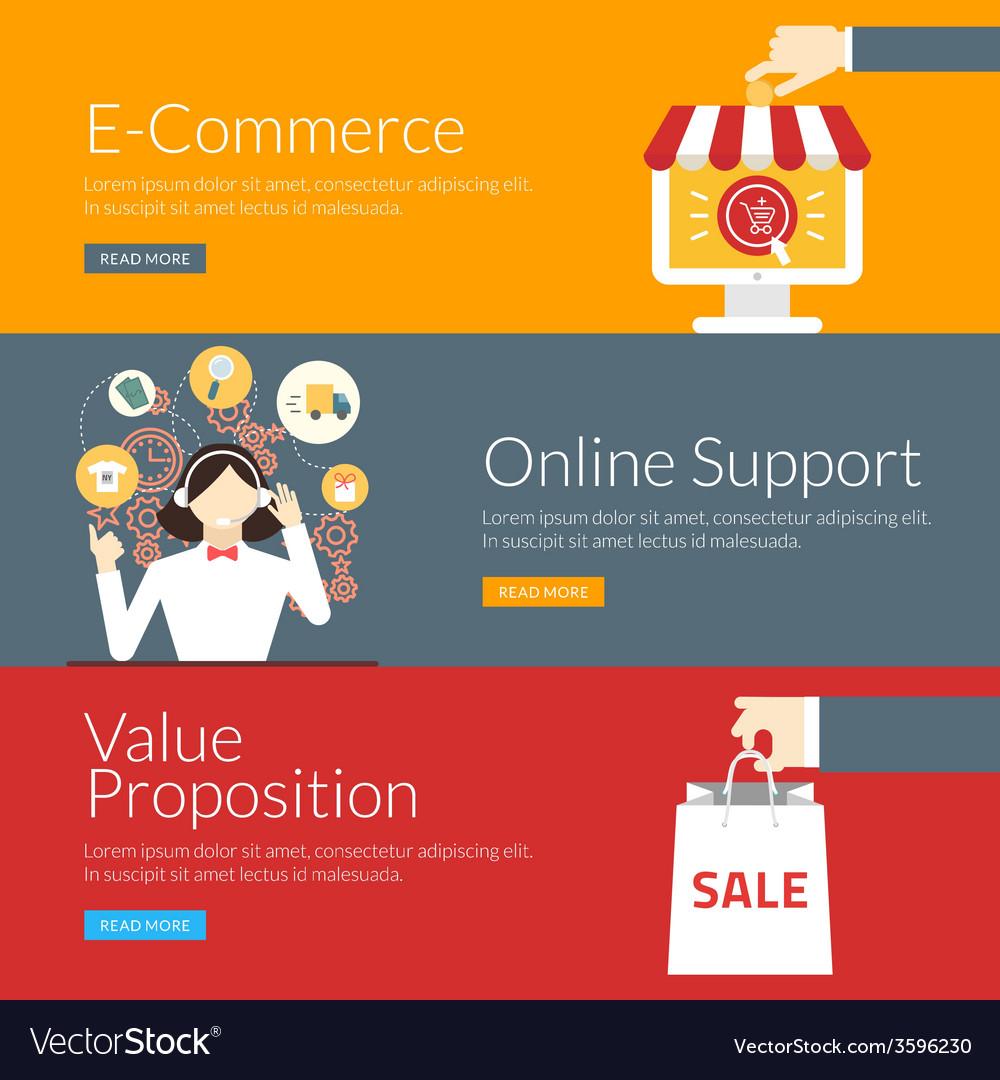 Flat design concept for e-commerce online support vector