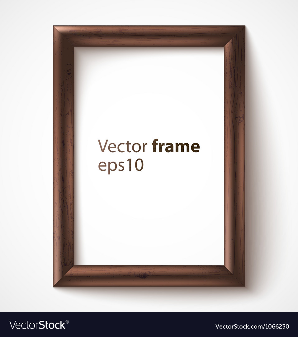 Wooden rectangular 3d photo frame with shadow vector