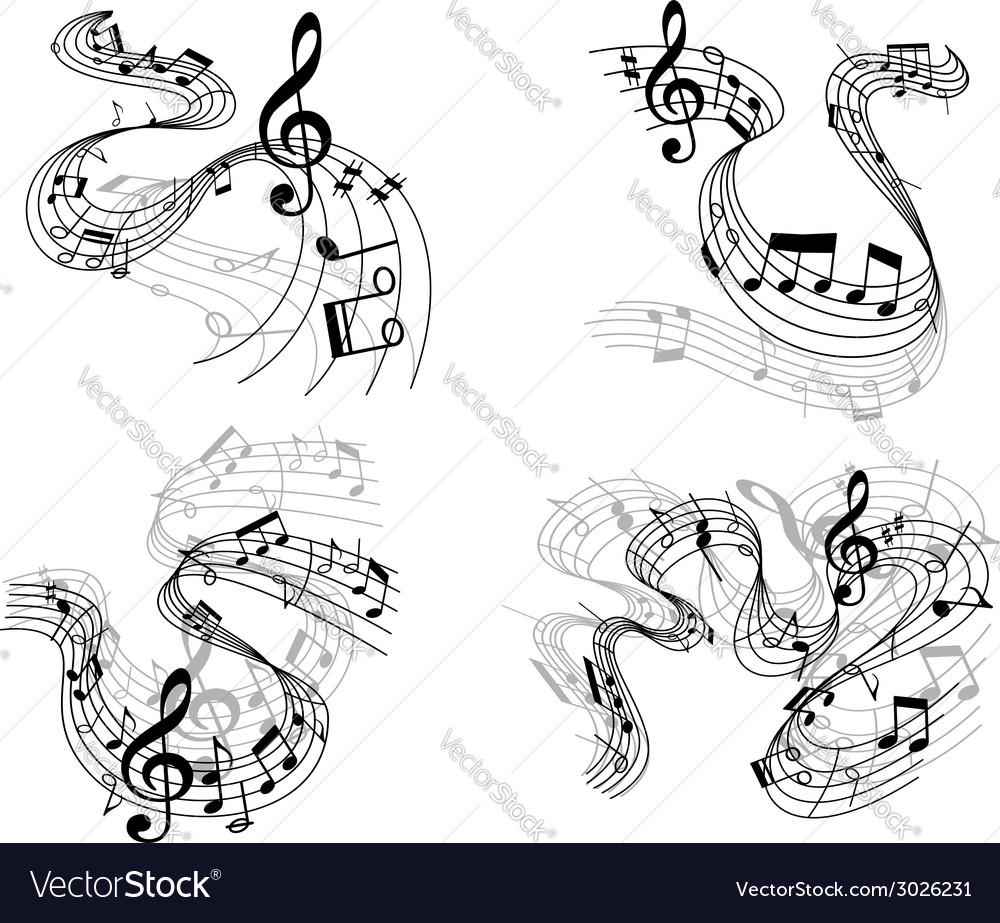 Abstract musical compositions set vector