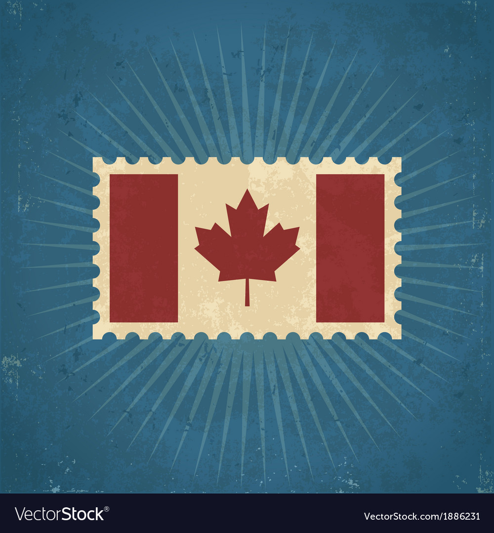 Retro canada flag postage stamp vector