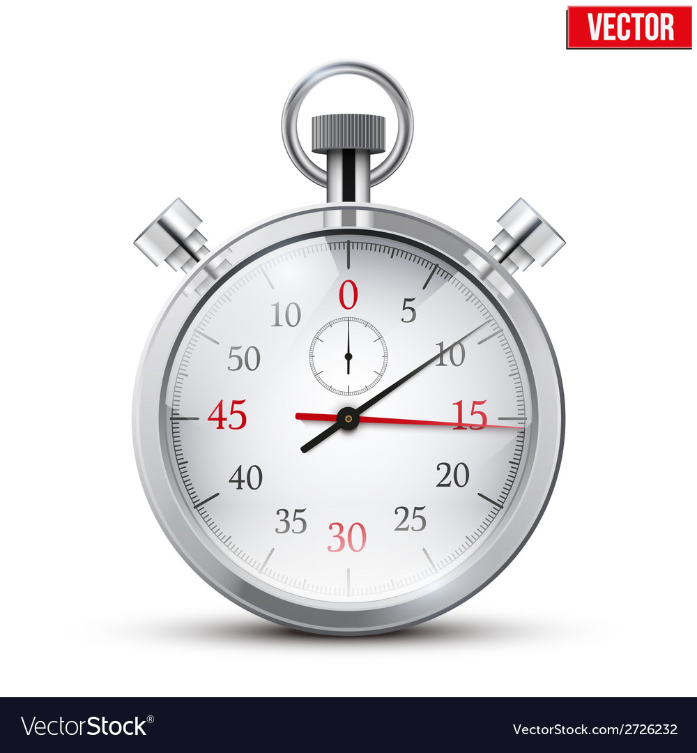 Realistic shine analog stop watch vector