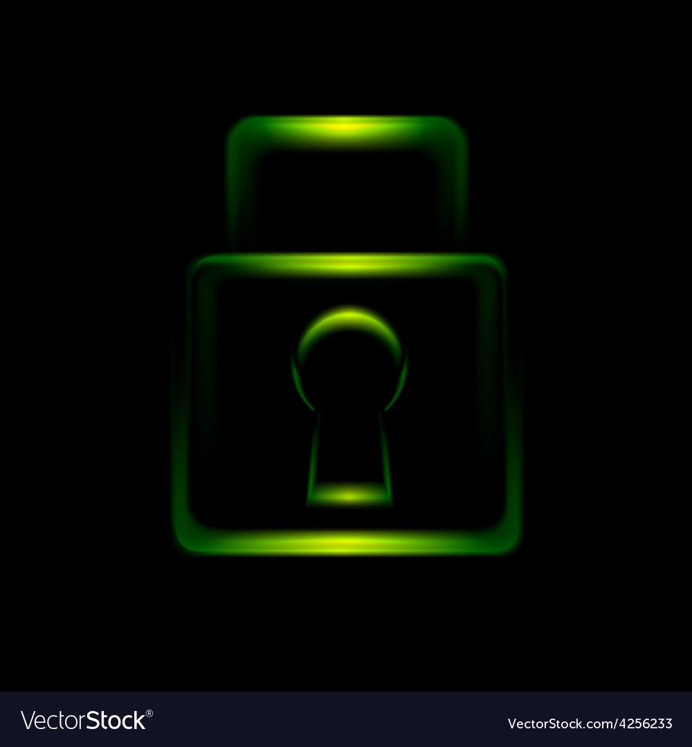 Green glowing lock symbol icon vector