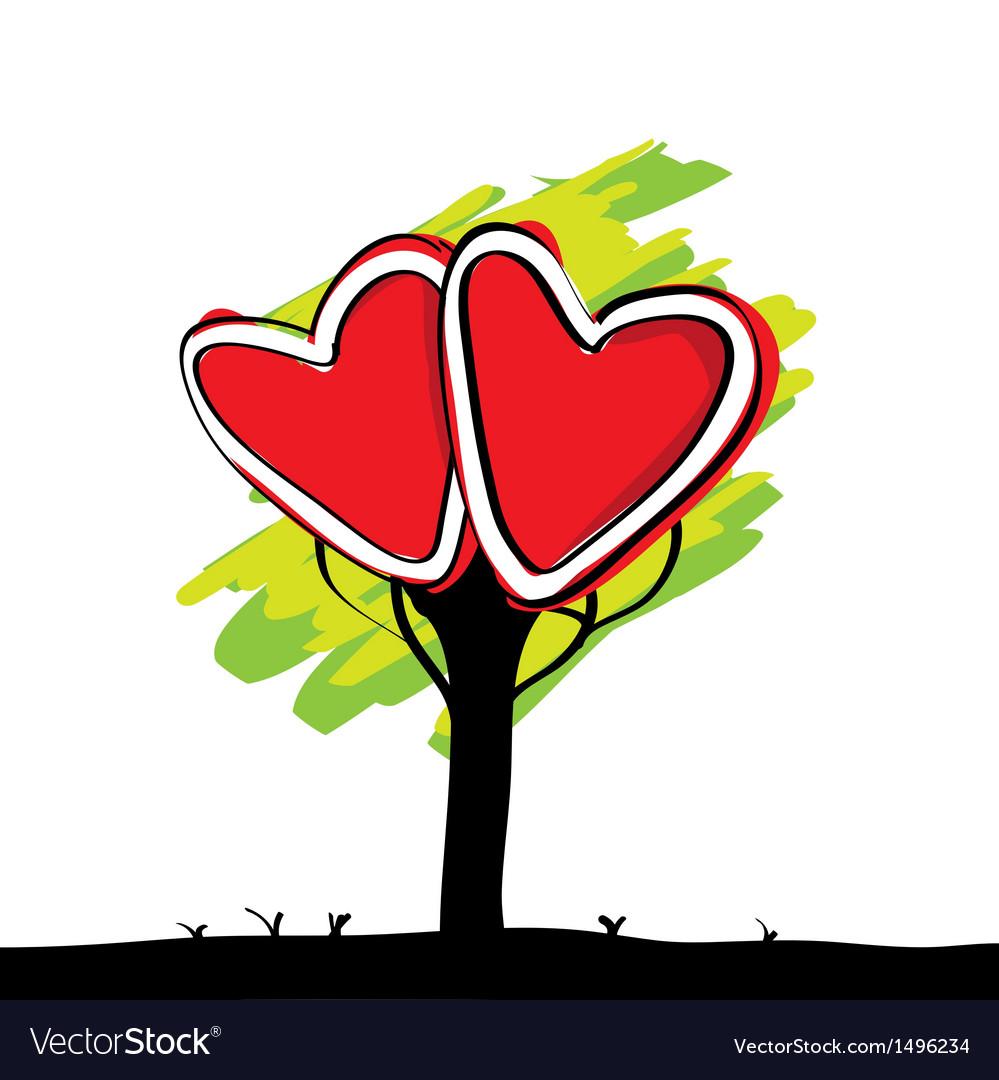Handwriting of kid painted heart tree vector