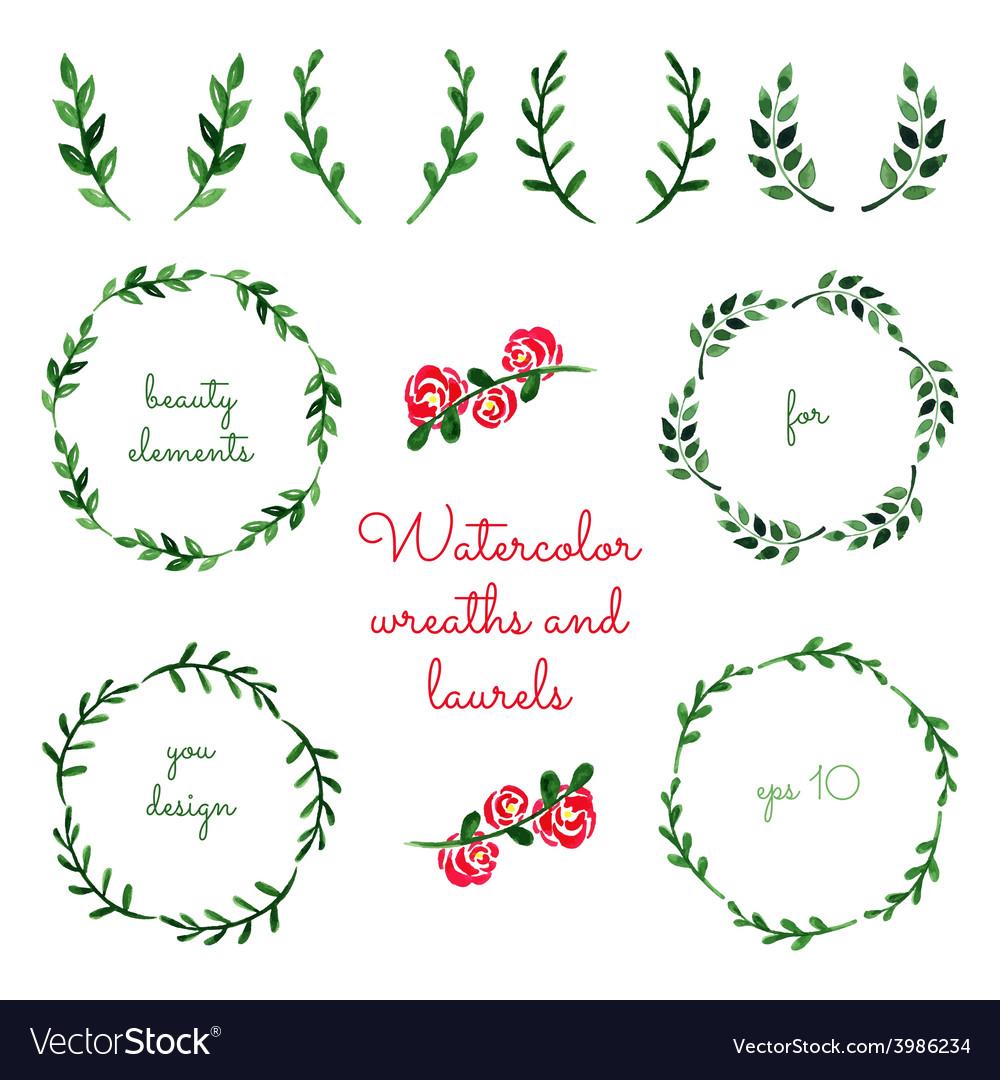 Set of watercolor wreaths and laurels vector