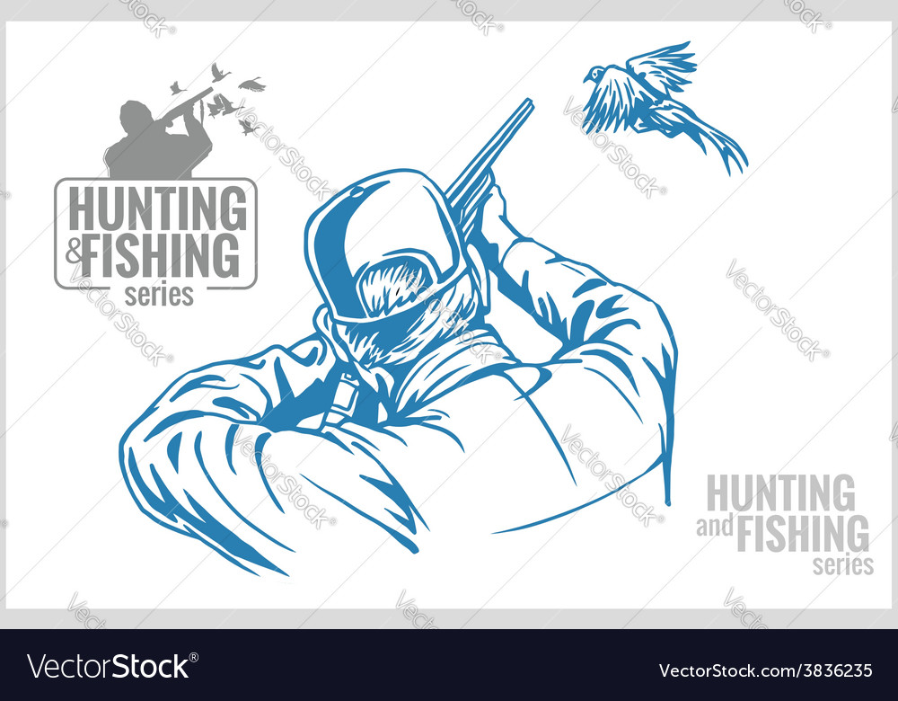 Hunter and pheasant - vintage vector