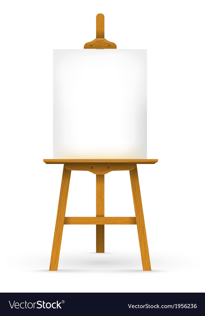 Wooden easel with blank canvas vector