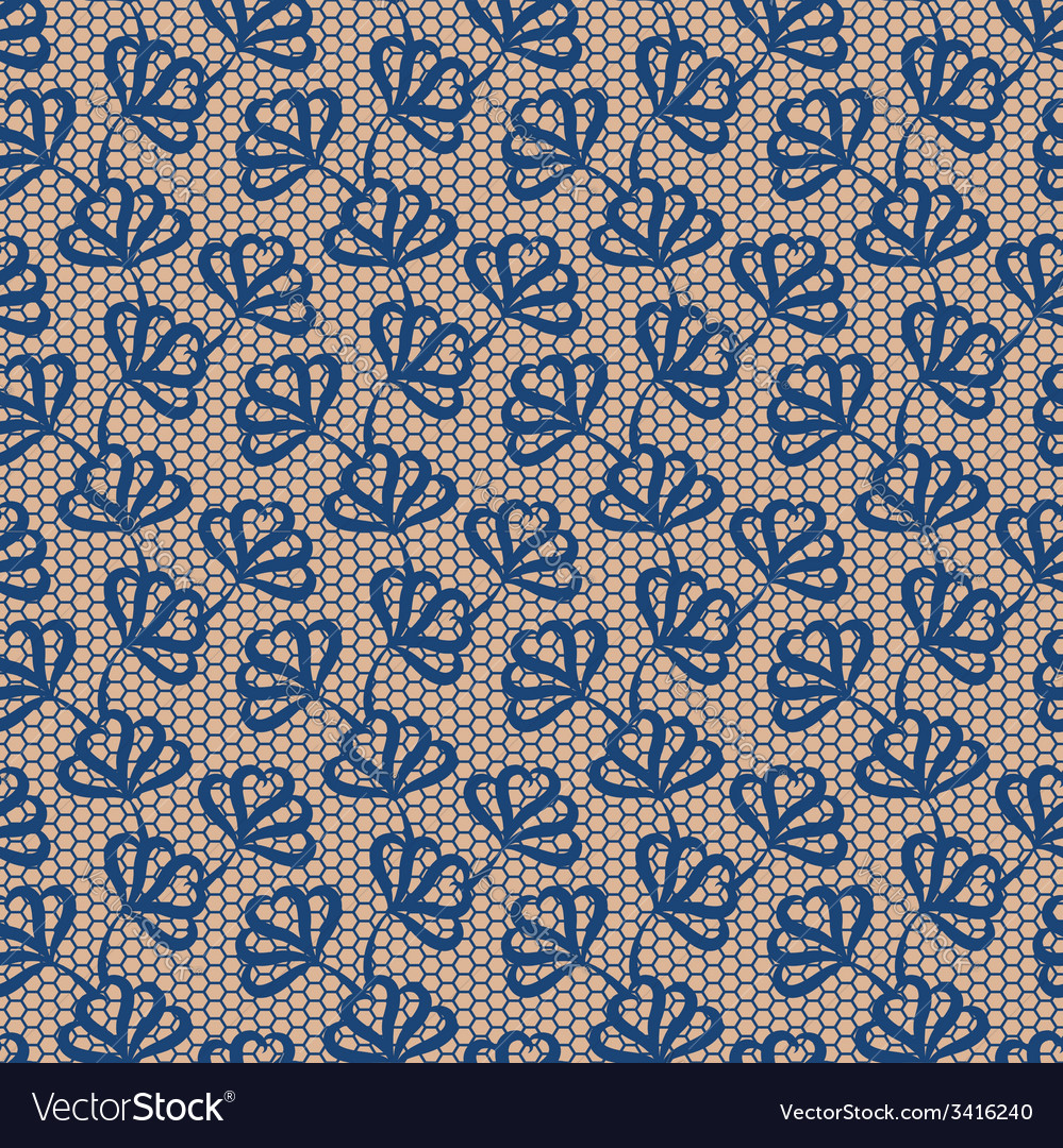 Blue seamless floral lace pattern vector