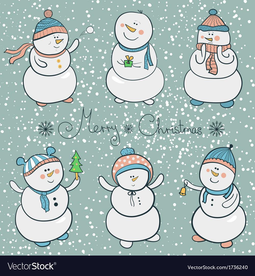 Cartoon snowmen set christmas vector